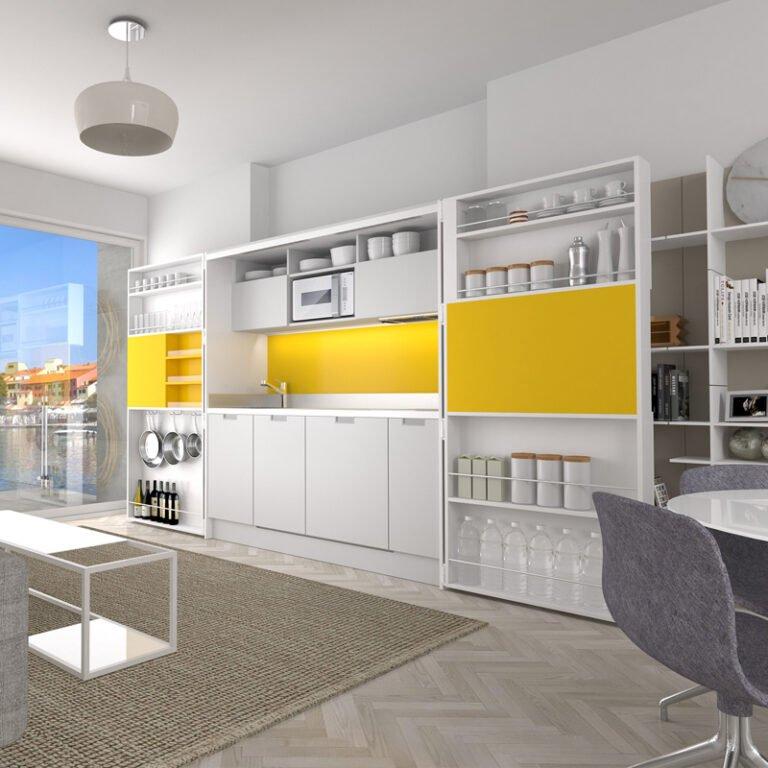 Küche PIA - weiß/gelb - geöffnet